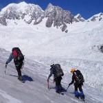 short roping on a mountain guiding course