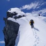 pitching up a ridge, alpine course